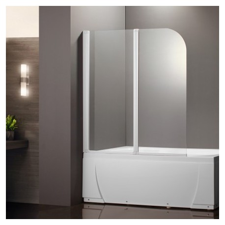 prb2 2 volets verre transparent profile blanc pare baignoire. Black Bedroom Furniture Sets. Home Design Ideas